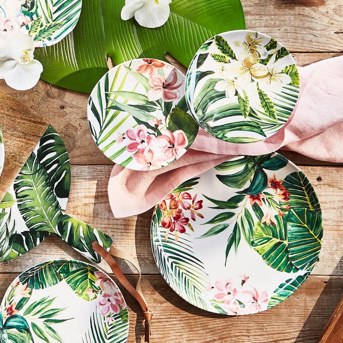 Cabana Melamine Appetizer Plates, Set of 4