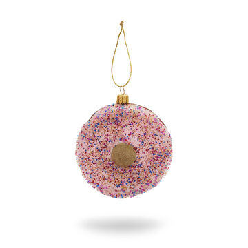 Pink Donut Glass Ornament