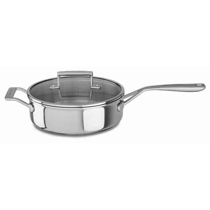 KitchenAid® Tri-Ply Stainless Steel Sauté Pan with Lid, 3.5 qt.
