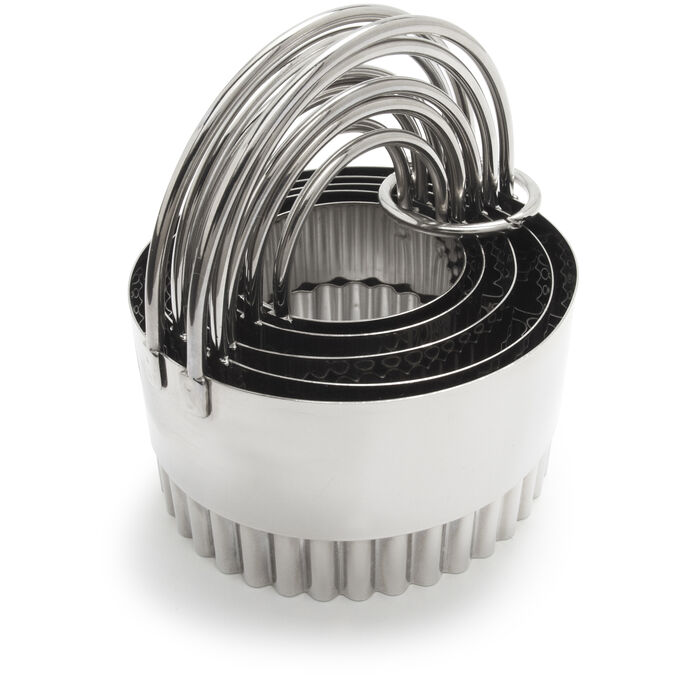 Sur La Table Stainless Steel Fluted Biscuit Cutters, Set of 5