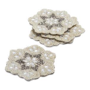 Beaded Snowflake Coasters, Set of 4