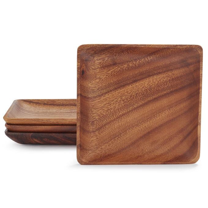Acacia Wood Plates, Set of 4