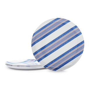 Pique-Nique Stripe Melamine Dinner Plates, Set of 4