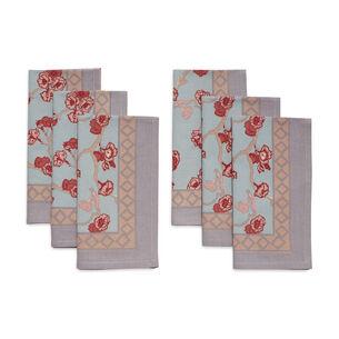 Couleur Nature Cherry Blossom Blue Cloth Napkins, Set of 6