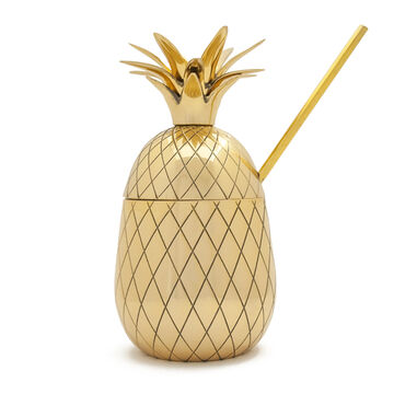 W&P Gold Pineapple Tumbler with Straw, 16 oz.