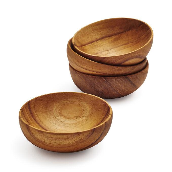 Teak Pinch Bowls, Set of 4