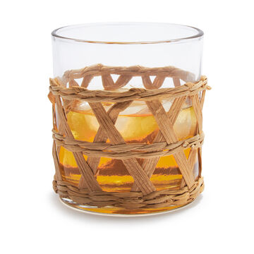 Wicker-Wrapped Double Old-Fashioned Glasses