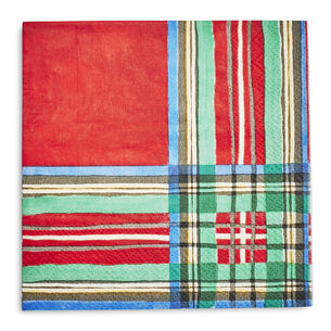 Christmas Plaid Paper Cocktail Napkins, Set of 20