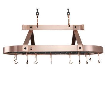 Enclume Brushed Copper Low-Ceiling Oval Pot Rack