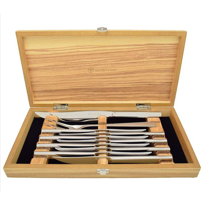 Stainless Steak Knife Set in Olivewood Chest