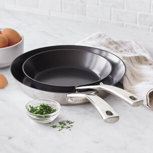 "Sur La Table Tri-Ply Stainless Steel Nonstick Skillets, 8"" and 10"" Set"