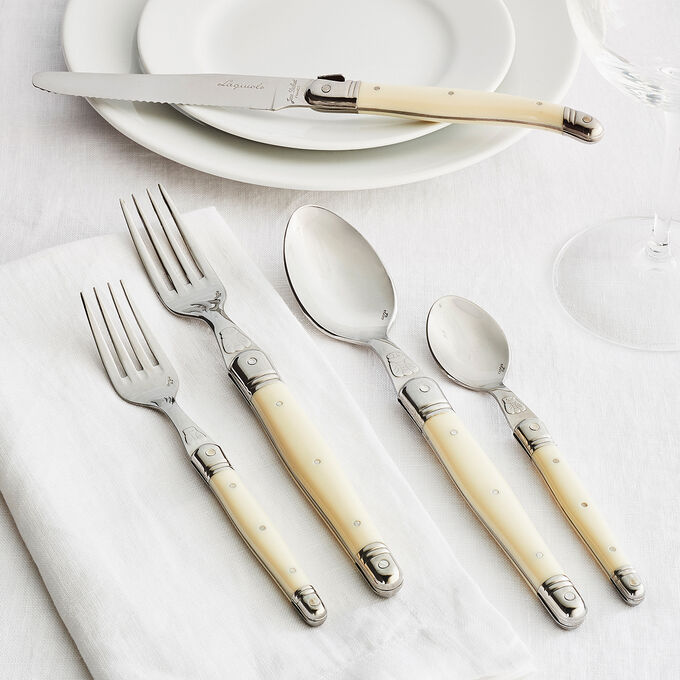 Dubost Ivory Laguiole Flatware, Set of 20