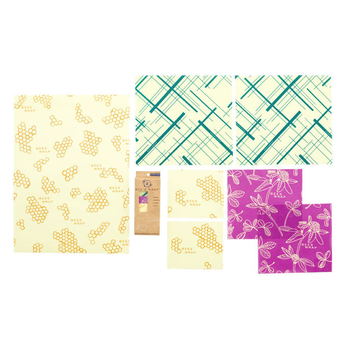 Bee's Wrap Reusable Beeswax Variety Wraps, Set of 7