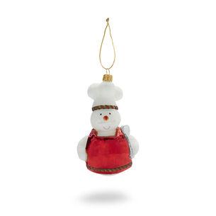 Snowman Chef Glass Ornament