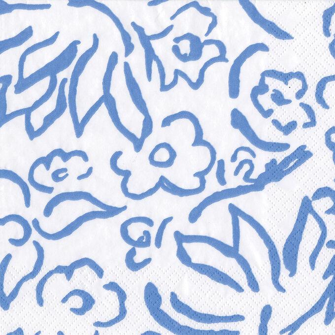 Caspari Matisse Blue Cocktail Napkins, Set of 20