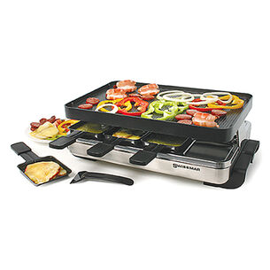 Stelvio Raclette Party Grill with Reversible Cast Aluminum Grill Plate