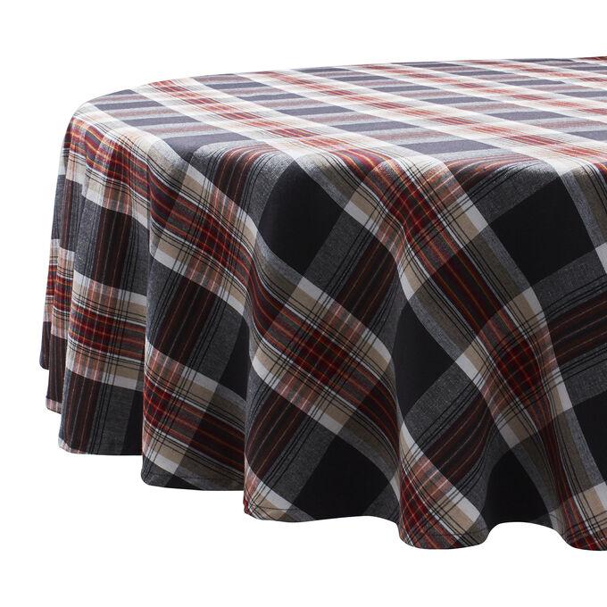 "Fall Plaid Round Tablecloth, 108"" x 70"""
