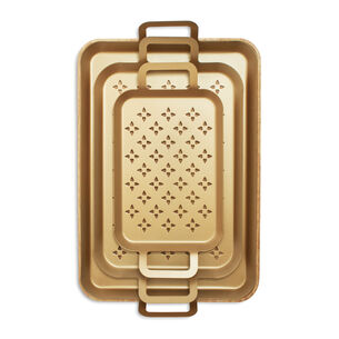 Nonstick Grill Grids, Set of 3, with Wood Trivet