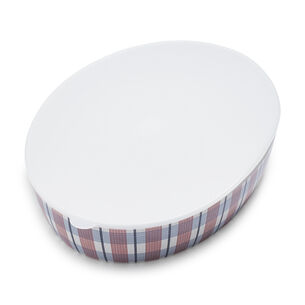 Pique-Nique Plaid Melamine Serving Dish with Lid