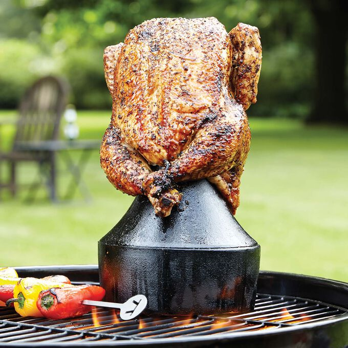Outset Cast-Iron Beer Can Chicken Holder and Flavor Infuser