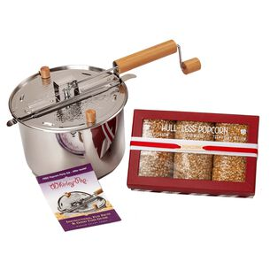 Stainless Steel Whirley Pop with Hull-less Popcorn Box Set