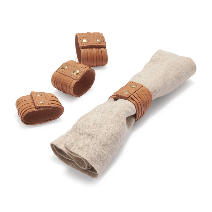 Wrapped Leather Napkins Rings, Set of 4