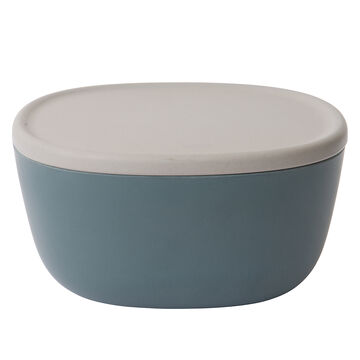 """Leo Blue Bamboo Bowl With Lid, 8.75"""""""