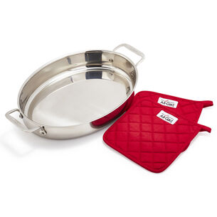All-Clad d3 Stainless Steel Oval Roaster with Pot Holders