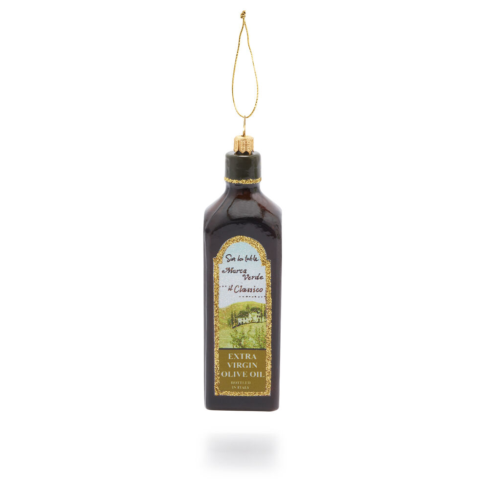 Olive Oil Bottle Glass Ornament