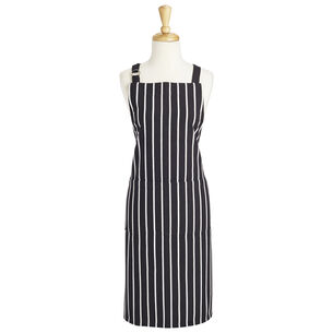 Black Butcher Stripe Kitchen Apron