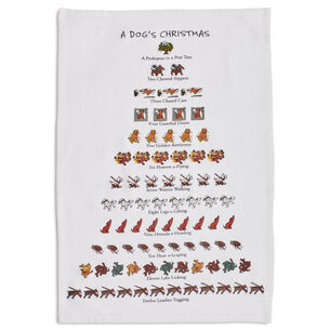 "The Dog Lover's 12 Days of Christmas Flour Sack Towel, 26"" x 18"""