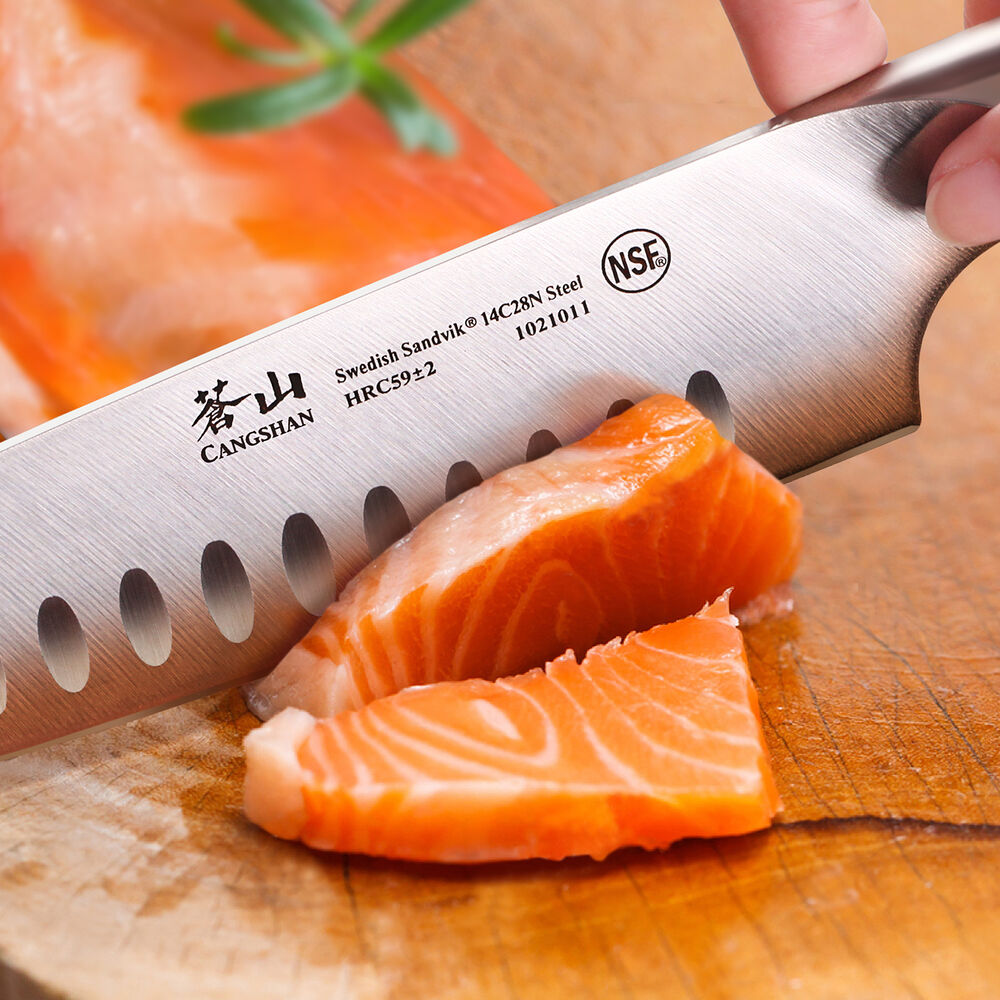 Cangshan TC Series Swedish Sandvik Steel Forged Santoku Knife & Wood Sheath Set