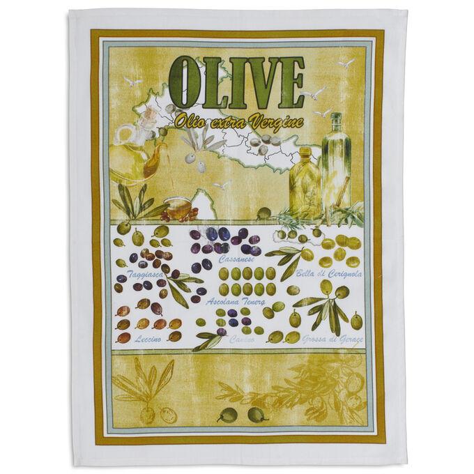 "Vintage Olive D'Italia Kitchen Towel, 28"" x 20"""