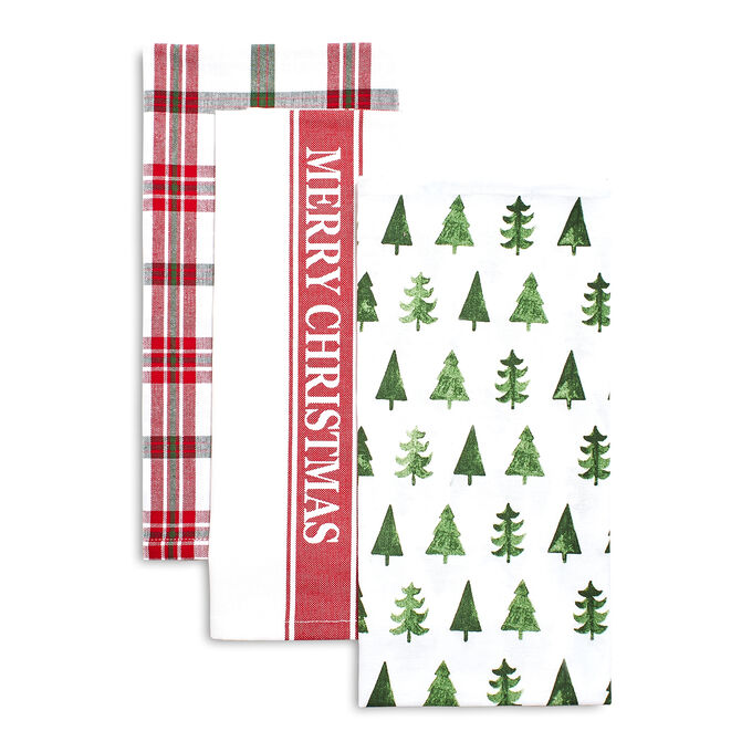 Merry Christmas Kitchen Towels, Set of 3