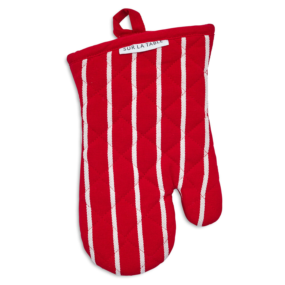 Red Butcher Stripe Oven Mitt