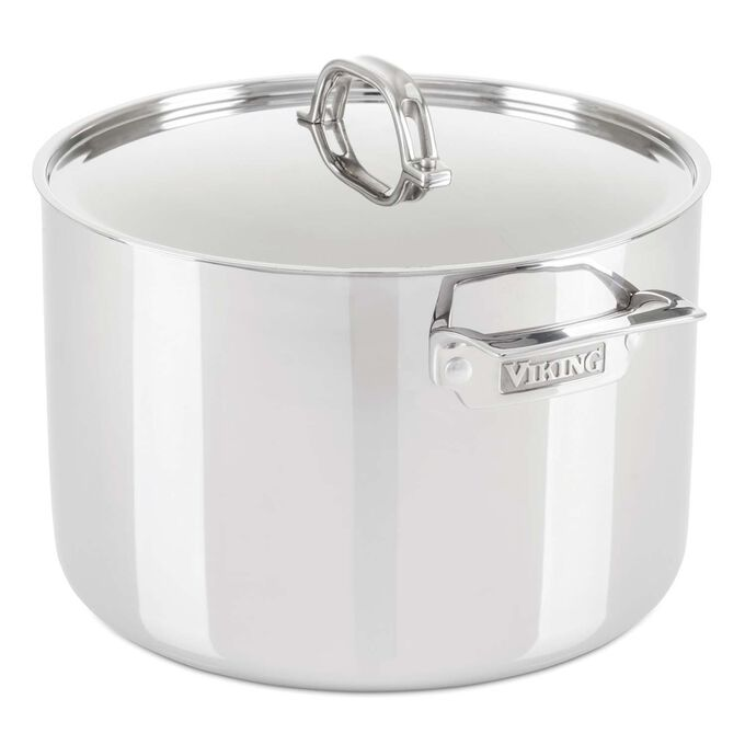 Viking 3-Ply Stainless Steel Stockpot with Lid, 12 qt.