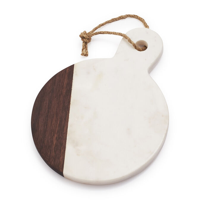 Marble & Walnut Round Cheese Paddle