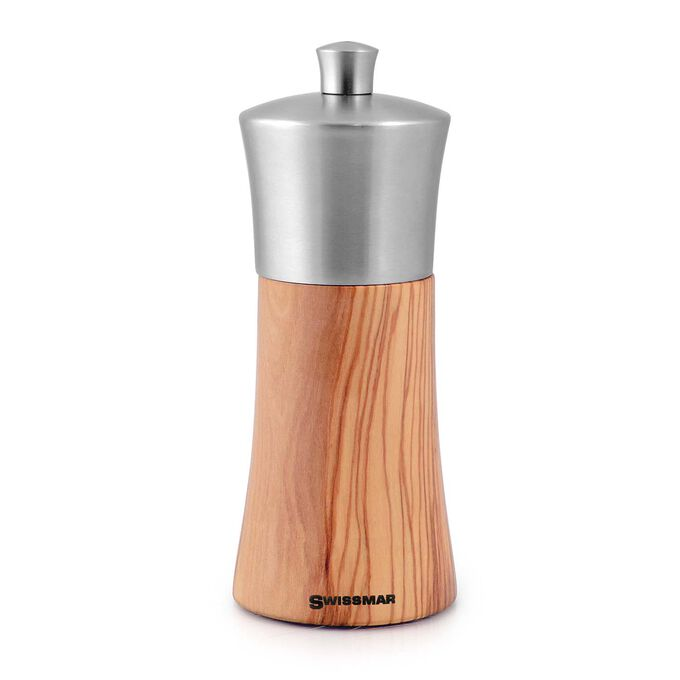 Swissmar Torre Olivewood Salt Mill with Stainless Steel Top