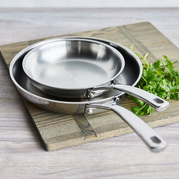 "La Marque 84 Stainless Steel 8"" & 10"" Skillets, Set of 2"