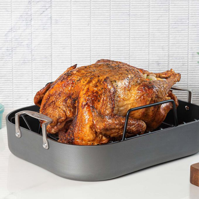 Viking Hard Anodized Roaster with Rack and Carving Set