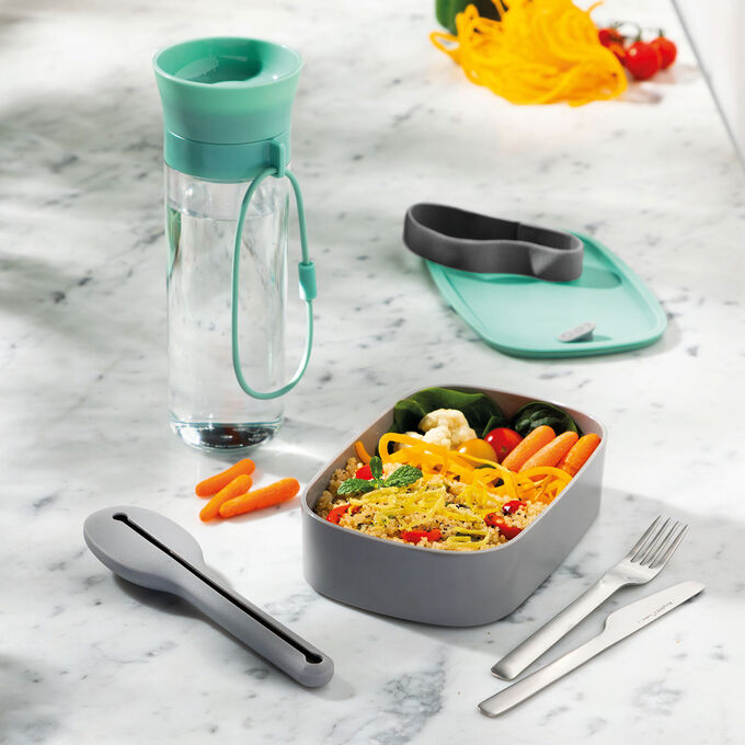 Berghoff Leo Lunch Set, Water Bottle, Flatware and Bento Box, Green