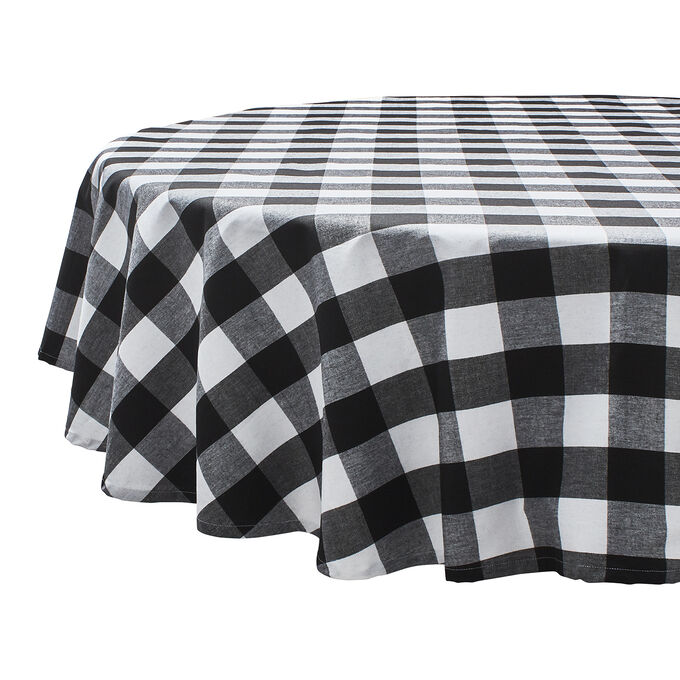 """Black & White Plaid Water-Resistant Round Tablecloth, 70"""""""