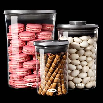 OXO Steel 3-Piece Glass POP Container Set