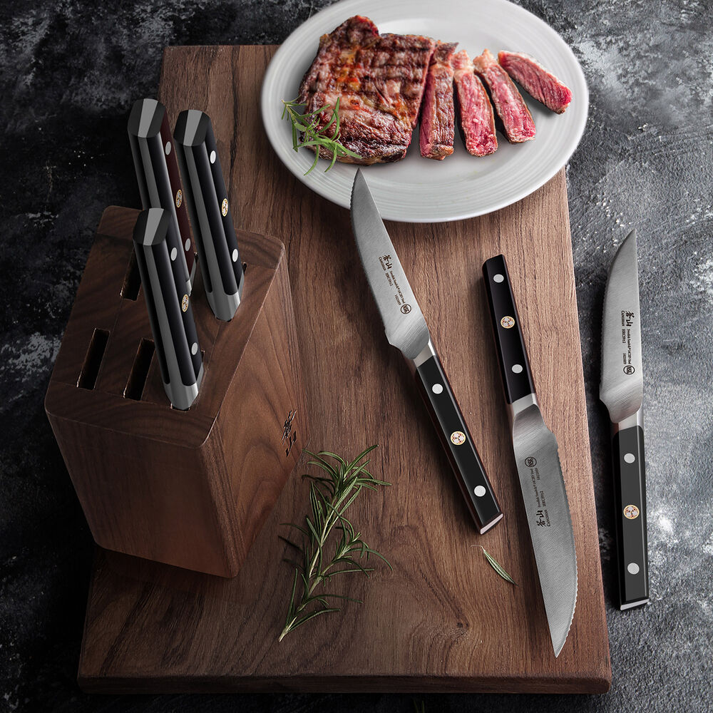 "Cangshan TC Series Swedish Sandvik Steel Forged Steak Knife Block, Set of 6, 5"""