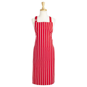Red Butcher Stripe Kitchen Apron