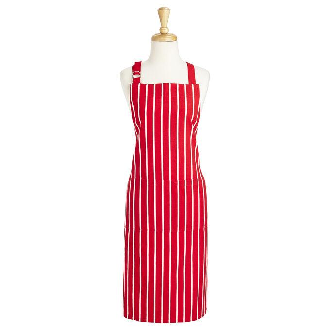 Red Butcher Stripe Kitchen Apron