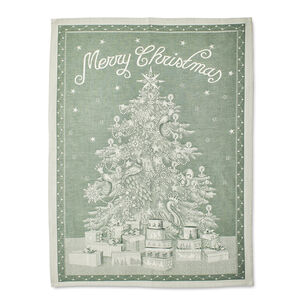 "Green Merry Christmas Jacquard Kitchen Towel, 31.5"" x 23.5"""