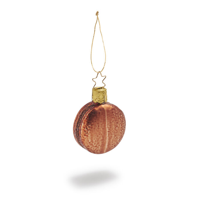 Chocolate Macaron Glass Ornament