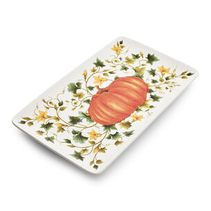 """Pumpkin Vine Rectangular Platter, 8"""" x 14"""""""