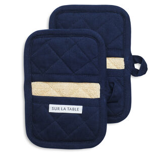 Blue Classic Oven Mitts, Set of 2